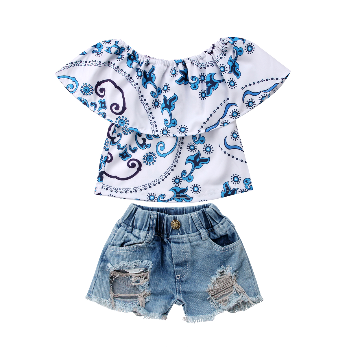 Casual Canis Kids Baby Girl Top T-shirt Ripped Jeans Denim Shorts Casual Outfits Set