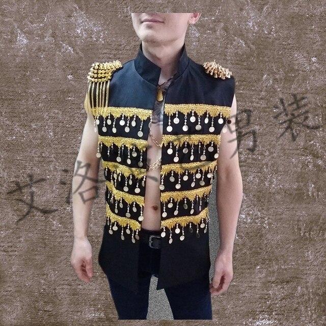 Клуб певец производительности одежда личность рок человек ma3 jia3 бар DJ этап с лето мужской жилет coa