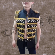 Membership male singer efficiency clothes persona rock man ma3 jia3 bar DJ stage with summer season males's vest coa