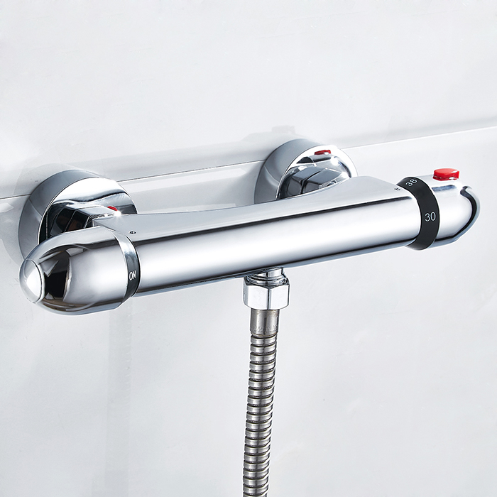 Thermostatic Shower Faucet Wall Mounted Double Handle Faucet Spout Filler Chrome Valve Faucet Mixer Tap Bathtub chrome finished wall mounted thermostatic shower faucet mixer valve