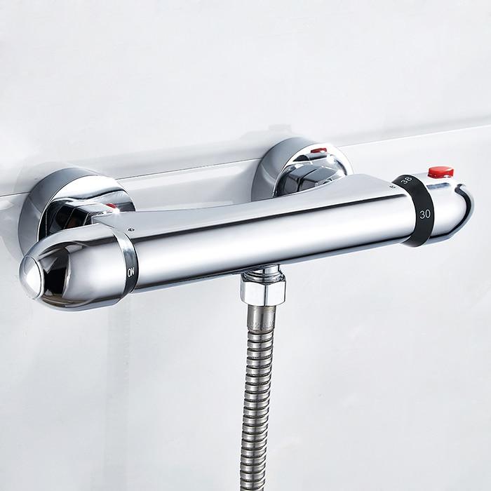Thermostatic Shower Faucet Wall Mounted Double Handle Faucet Spout Filler Chrome Valve Faucet Mixer Tap Bathtub newly chrome shower faucet thermostatic mixing valve wall mounted bathroom bathtub mixer faucet zr999