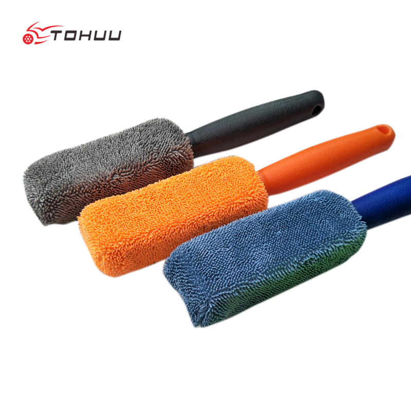 Microfiber Long Handle Tire Brush Car Cleaner Plating Wheel Hub Brush Car Wash Paint Care Auto Cleaning Tool Clay Cloth Towel цена