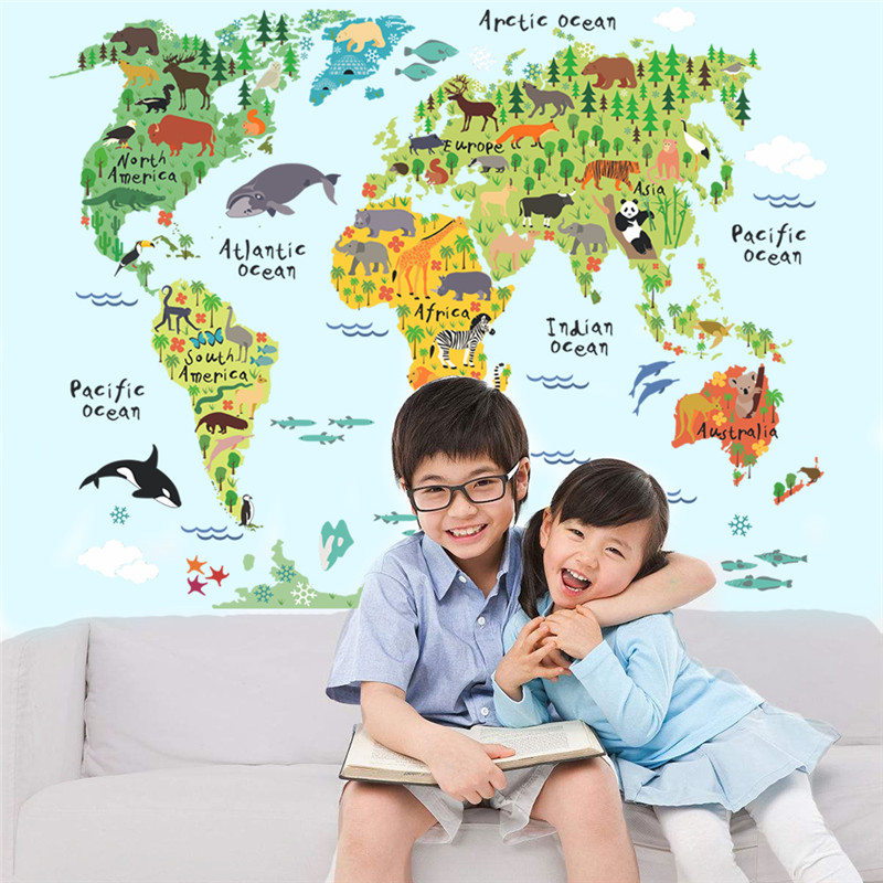Animal World Map Wall Stickers 1