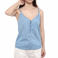 Sexy V neck Sleeveless Women Blouse Lace Summer Blouse Ladies Blusas