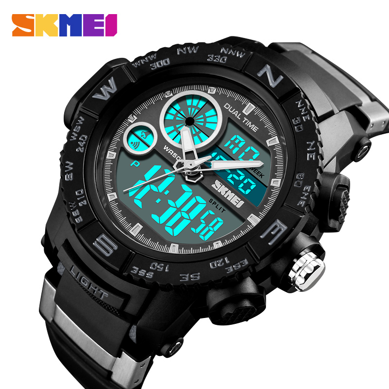 SKMEI Men Watches Outdoor Dual Display Sports Wristwatches Fashion Casual 50M Waterproof Watch Relogio Masculino XFCS fashion women s sandals with metal and stiletto heel design
