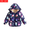 Baby Girls Winter Coat 2016 Cartoon Rabbit Graffiti Zipper Hooded Cotton Parkas Jackets For Girls Long Sleeve Children's Jackets