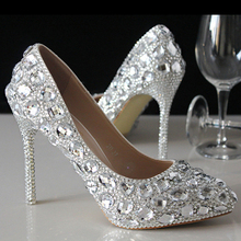 Beautiful Silver High-heeled Lady Bridal Wedding Dress Shoes Woman Crystal Shoes for Bride Evening Party Prom Shoes