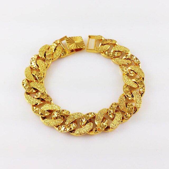Gold filled 22 cm Larga de Alta Calidad Matorrales Cuban Link franco cadena de Hiphop de La Manera chunky pulseras y brazaletes joyería de los hombres