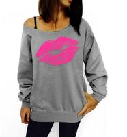 2016 Plus Size Women Sweatshirts Sexy Red Big Lips Printed Off Shoulder Long Sleeved Pullovers Hoodies