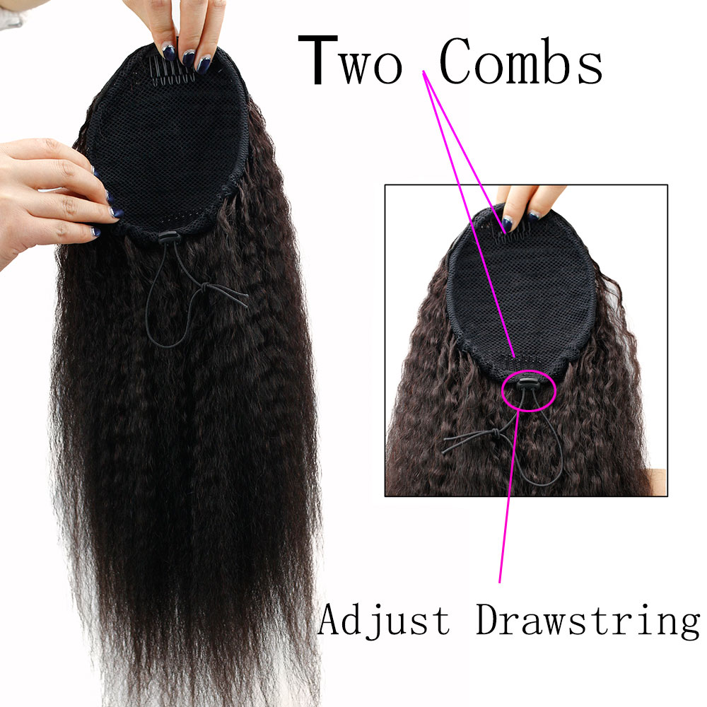 Eseewigs Kinky Straight Brazilian Human Hair Drawstring Ponytail Clip In Hair Extensions Natural Color Remy 2 Clips In Ponytail