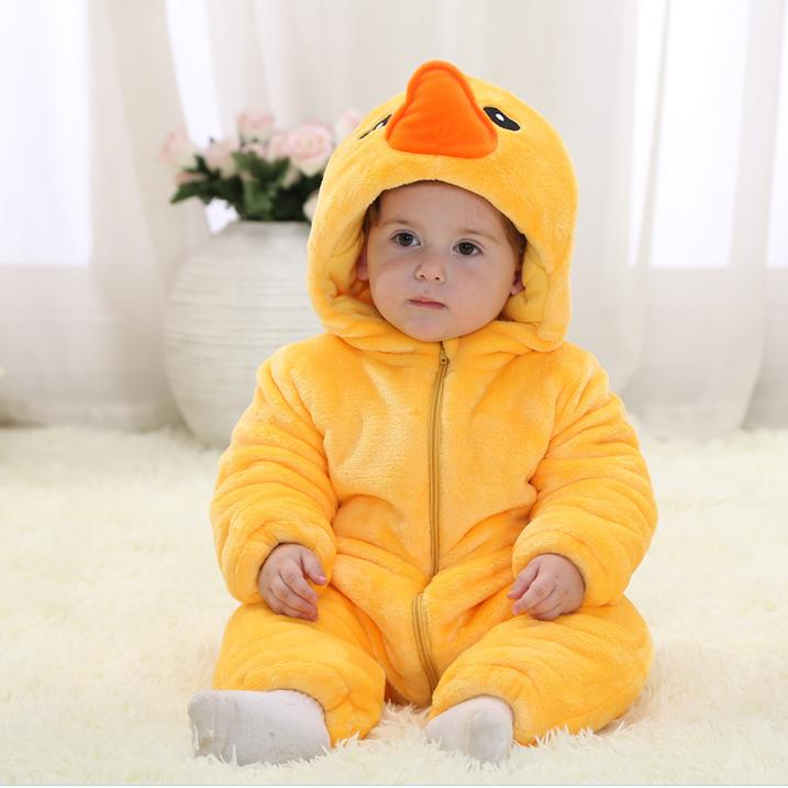 AZEL Christmas Jumpsuit Winter Warm Yellow Duck Infant Baby Romper For 0-24 Months Baby Boy And Girls Coverall Toddler Clothes