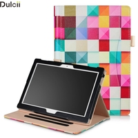 Dulcii Cover For Lenovo Tab 4 10 10 Plus Shell Pattern Printing Stand PU Leather Case