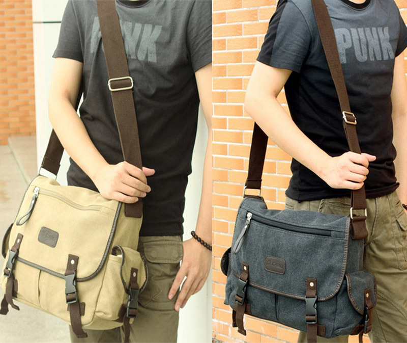 c300e93b998 Men s Fashion Canvas Vintage Crossbody Satchel Hand bag Shoulder Casual  Travel Handbag School Book Messenger Bag , Free shipping