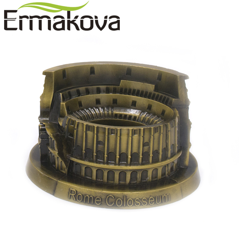 Estatuilla de Coliseo romano de Metal ERMAKOVA estatua de Coliseo italiano modelo monumento famoso mundialmente edificio decoración de la Oficina del hogar Cabeza de oveja de resina creativa cabeza de cráneo colgante de pared 3D Animal escultura de Longhorn figuritas artesanías cuernos decoración del hogar adornos