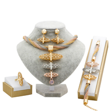 hot deal buy italy new fashion 18 gold jewelry sets necklace ring earrings charm bridal wedding anniversary fine gift accessory