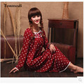 Tassel Fashion Nightdress Women Spring And Autumn  Knitted Cotton Elasticity  Long  Nightgowns