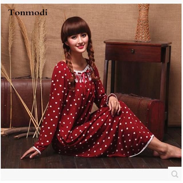 Borla Moda Elasticidade de Longo Nightgowns Nightdress Mulheres Primavera E No Outono de Malha de Algodão
