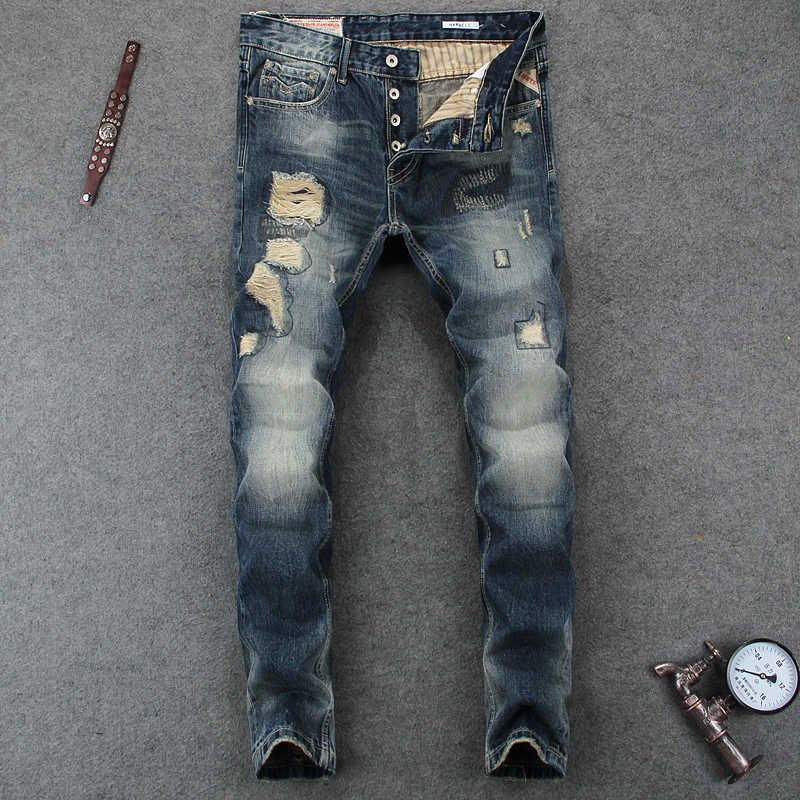 79af0c31 Italian Style Fashion Mens Jeans High Quality Slim Fit Frayed Hole Ripped  Jeans For Men Brand