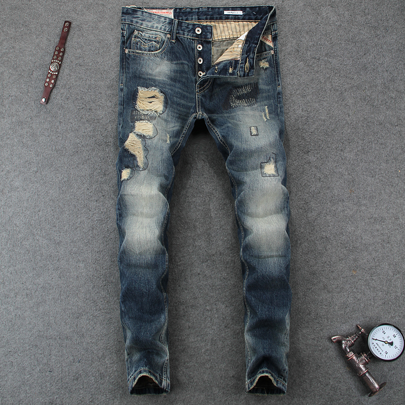 Italian Style Fashion Mens Jeans High Quality Slim Fit Frayed Hole Ripped Jeans For Men Brand Clothing Denim Biker Jeans Pants classic mid stripe men s buttons jeans ripped slim fit denim pants male high quality vintage brand clothing moto jeans men rl617