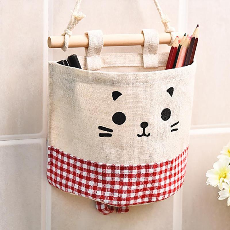 Cute Cat Cotton Linen Storage Basket Sundries Organizer Hanger Bag Door Wall Closet Hanging Pocket Pouch Makeup Cosmetic A30