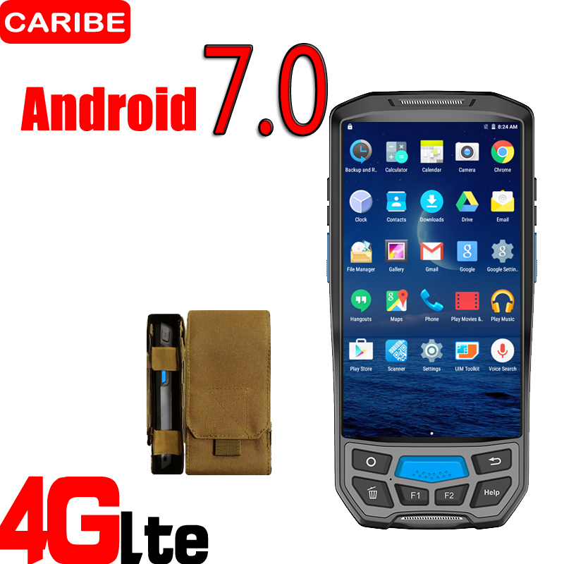 CARIBE Handheld PDA with Bluetooth 3G 4G Android Barcode Reader with 8MP Camera NFC UHF GPS Data Collector caribe pl 40l rugged handheld wireless 2d barcode scanner pda with wifi 4g nfc reader gps camera