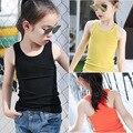 Новый Шаблон Летняя Одежда Корейская Девушка Сплошной Цвет Шею Хлопка Детей Мода Бретели Жилет Детская Одежда 6 Цвет