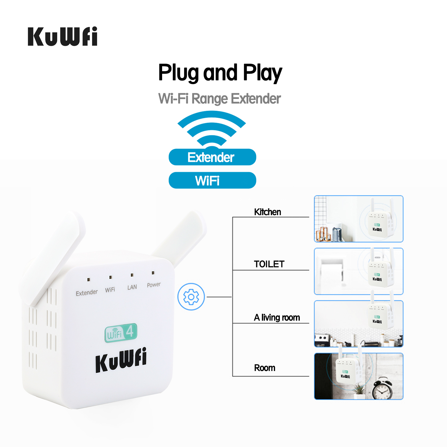 KuWFi 300Mbps WiFi Repeater Wifi Booster Extender Wireless Router 2.4Ghz AP Router 802.11N Signal Amplifier Range US/EU Plug