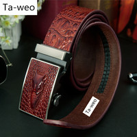 2016 New Selling Fashion Men S Crocodile Striped Automatic Buckle Belts Luxury Genuine Leather Ceinture Homme