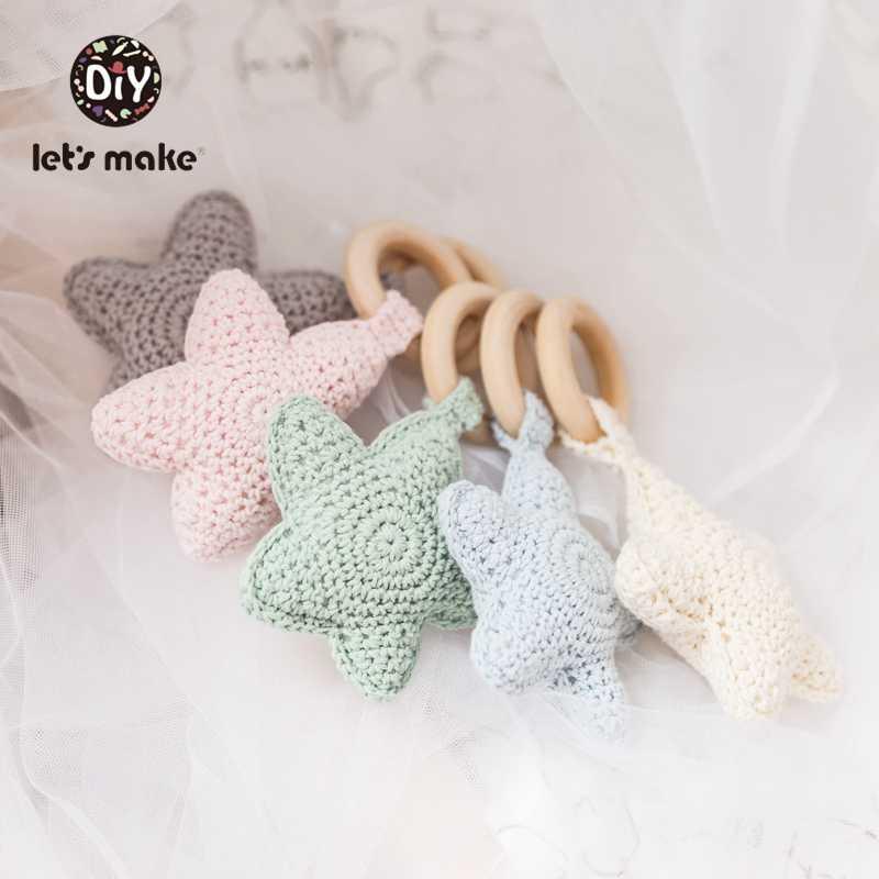 Let's Make 1pc Baby Rattles Crochet Star Amigurumi Baby Toys For Storller 0-12 Months Children's Toys Baby Shower Gift Rattles