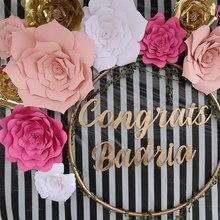 Roses artificielles en papier, 30/40cm, 1 pièce, décorations de mariage, pour fête d'anniversaire, pour enfants, pour fête prénatale