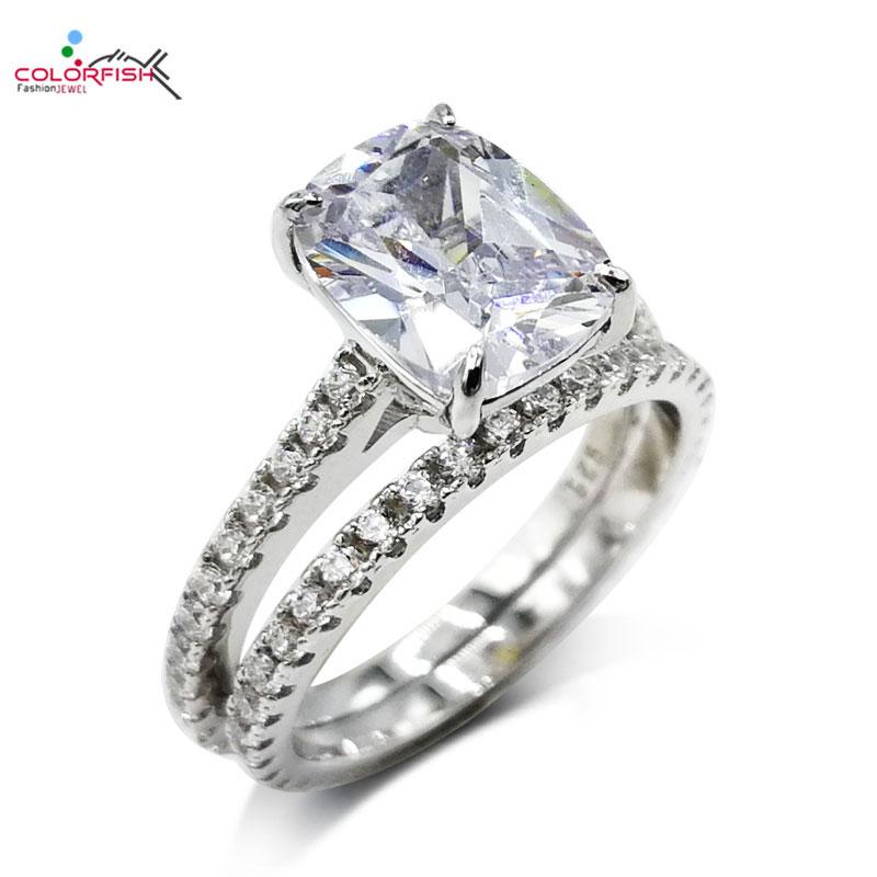 45fe2e1736d7 COLORFISH 2 piezas sólido 925 Plata de Ley cojín corte 4ct anillo de  compromiso conjunto Sona ...