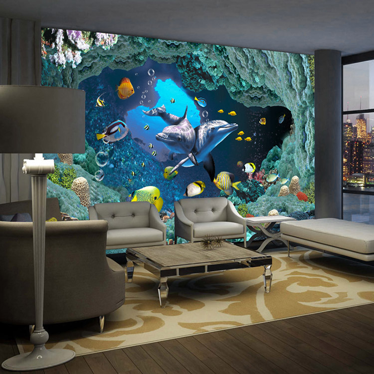 world wallpaper custom wall mural ocean dolphin photo wallpaper. Black Bedroom Furniture Sets. Home Design Ideas