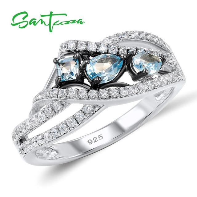 SANTUZZA כסף טבעות לנשים 925 סטרלינג כסף כחול אבן טבעות מעוקב Zirconia טבעת טרנדי המפלגה תכשיטים