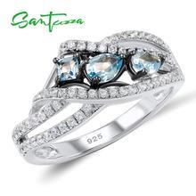 SANTUZZA gümüş yüzük kadınlar için 925 ayar gümüş mavi taş yüzük bayanlar için kübik zirkon yüzük moda parti moda takı