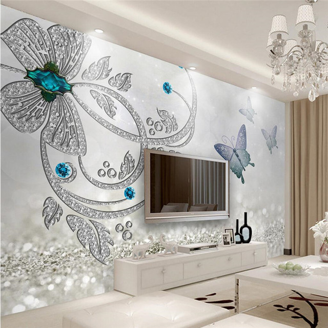Custom Any Size Modern Wall WallPaper Diamond Flower Butterfly Crystal Luxury Covering BedRoom Mural Background