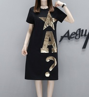 4xl plus big size blusas feminina spring autumn summer style 2018 korean women top loose black long t shirts dress female A4611