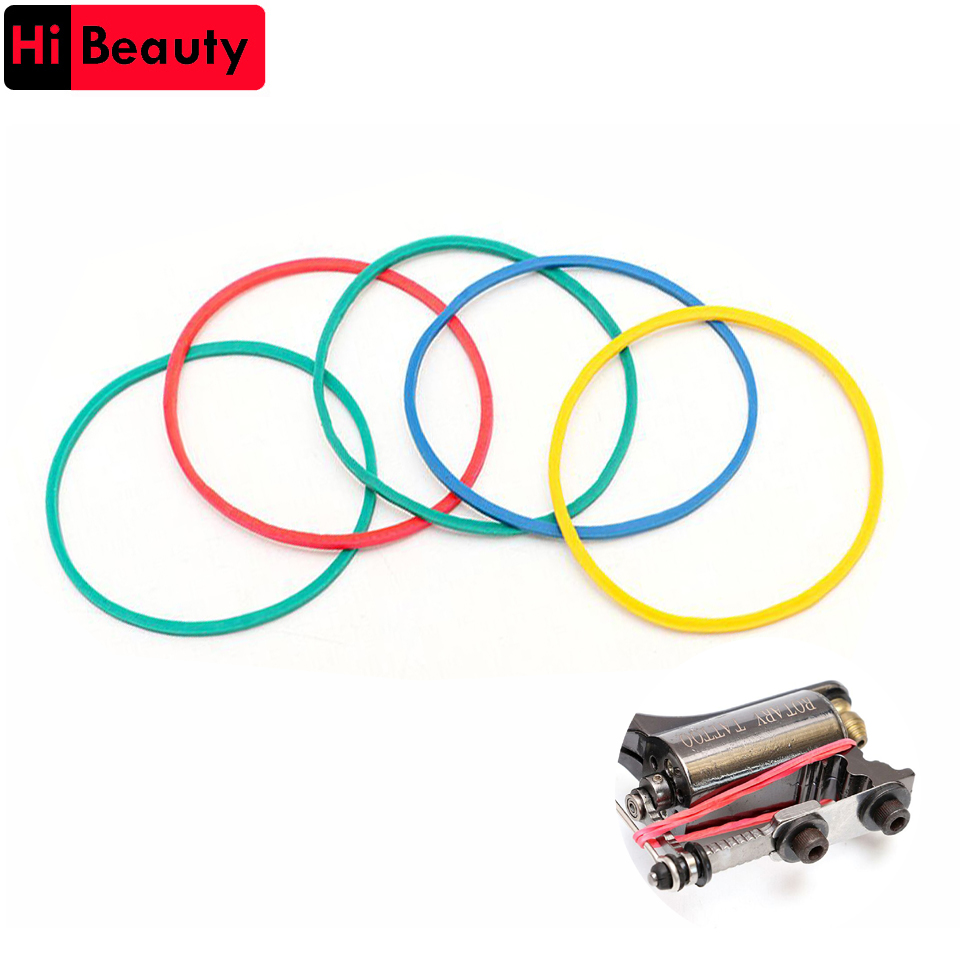 1 Pack 100pcs Professional Colorful Mixed Colors Tattoo Rubber Elastic Bands Accessories For Tattoo Machine Gun Holder Supplies