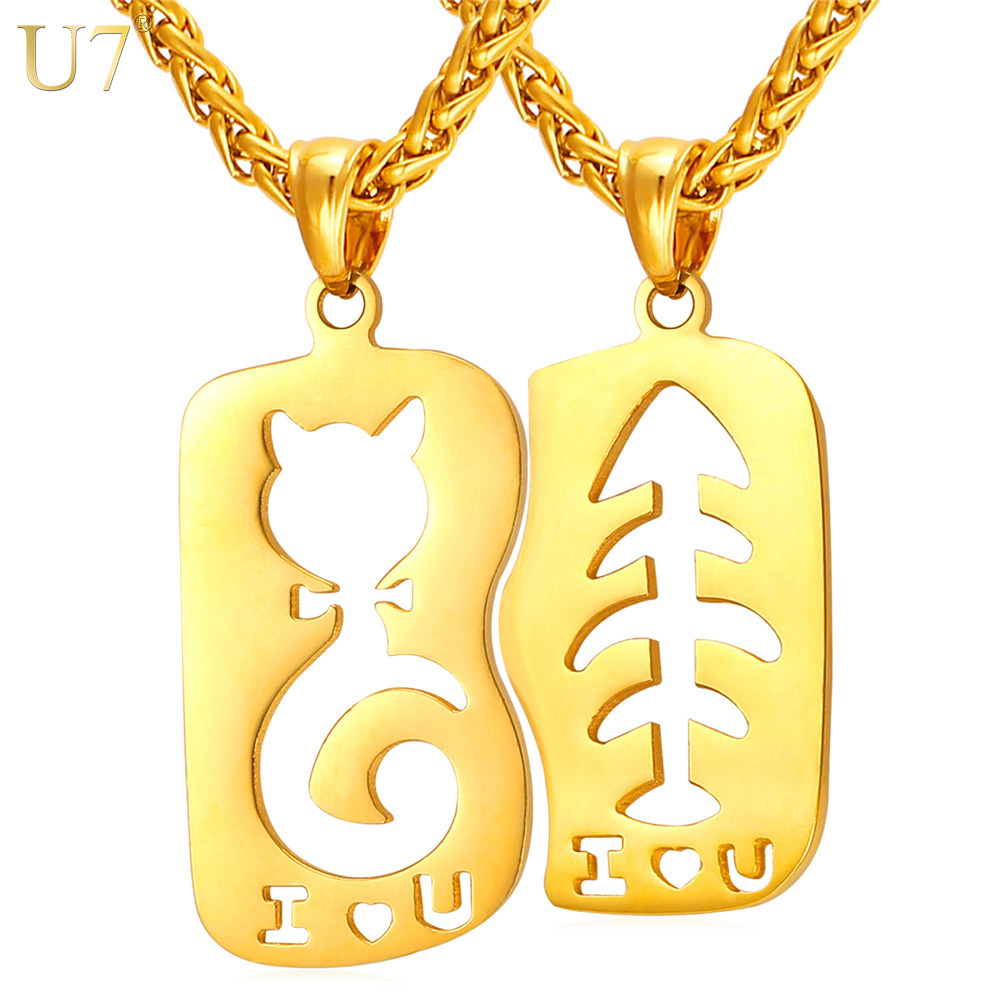 U7 Cat Fish love Necklace Pendant Gold Color Stainless Steel Couple Jewelry For Women Men 1
