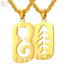 U7 Cat & Fish amor Collar y Colgante Color Oro Inoxidable Joyería de los Pares de acero Para Las Mujeres/Hombres 1 Par P924 Regalo del Día de San Valentín
