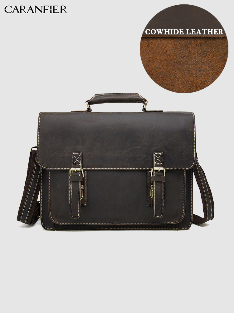 CARANFIER Mens Briefcases Larger Capacity Computer Travel Bags Genuine Cowhide Leather Shoulder Bags Crazy Horse Crossbody Bags