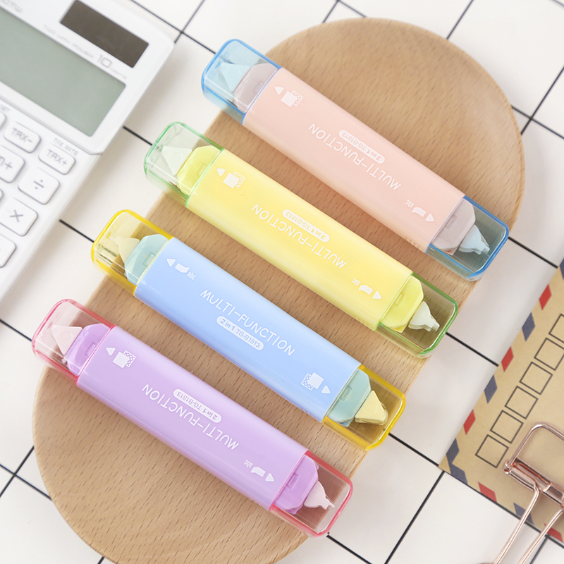 Creative 2 In 1 Mini Double Sided Correction Tape Practical School Stationery Adhesive Tape Punctiform Adhesive Glue Tape Kawaii