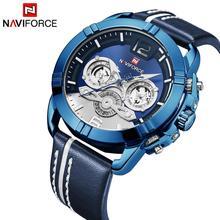 2019 Men's Fashion Watch Men NAVIFORCE Quartz Analog Clock 3 Sub-dial Calendar Leather Strap Blue Mens Watches Top Brand Luxury цена