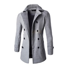 Winter Men Long FashionTrench Jacket Double-Breasted Slim Coat Male Black Grey Light Gray Orange Outerwear New 2017