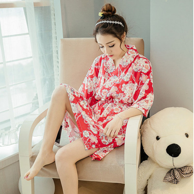 Japanese Kimono Style Nightgown Cotton Women Maternity Dress Bathrobe Robe Thin Section Sleepwear For Pregnant Women Pajamas