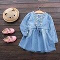 Nuevo Vestido de Las Muchachas de Flor de Algodón Infantil de Mezclilla Vestido de Verano Largo vestidos para niña de manga un line niño vaquero ropa de los niños ropa