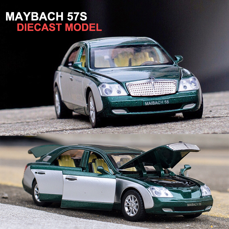 17.5CM 길이 Maybach Diecast 모형 차, 선물 상자 / 6 개의 열린 문 / 음악 / 빛 / 당기 기능을 가진 아이들을위한 장난감