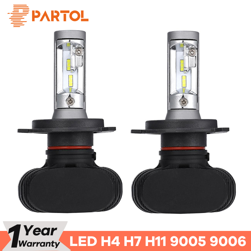 Partol Car H4 LED Headlight Bulbs 50W 8000LM H7 LED 9005 9006 Auto LED H7 Headlamp CSP H11 LED Bulbs 6500K 12V 24V Car Lights цена 2017
