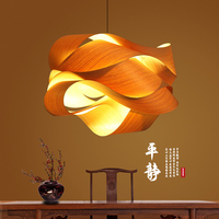 Japanese pendant lamp restaurant lights tatami lamp wood lamp tea room lamp Southeast Asia bamboo Creative pendant lights zb40