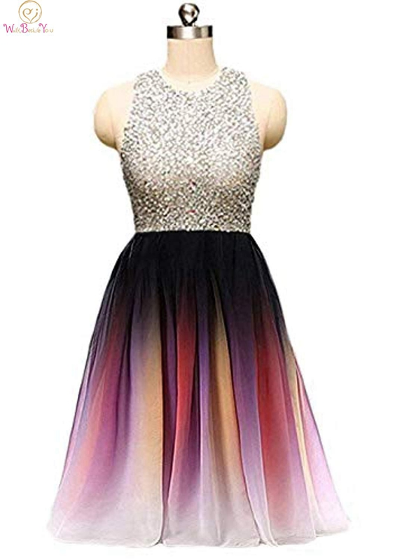 Rainbow Colors   Cocktail     Dresses   O-neck Sleeveless Short Length A-line Illusion Beading Sequined Chiffon Sexy Crystals Prom   Dress