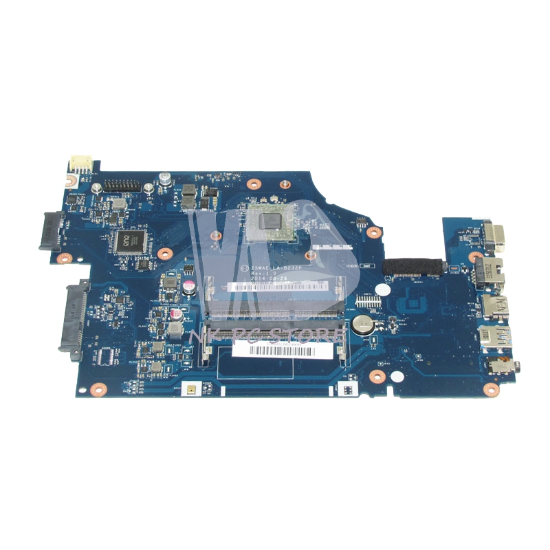 NOKOTION Laptop Motherboard For Acer aspire E5-521 MAIN BOARD NBMLF11005 Z5WAE LA-B232P DDR3 with Processor onboard wzsm original usb board with cable for acer aspire e5 521 e5 571 usb board ls b162p tested well